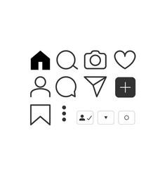 social network icon set media vector image