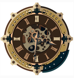 Steampunk clock background vector