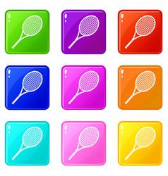 Tennis racket set 9 vector