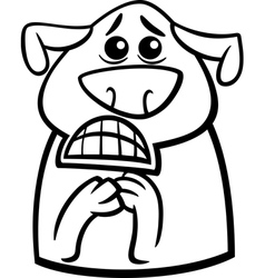 terrified dog cartoon coloring page vector image