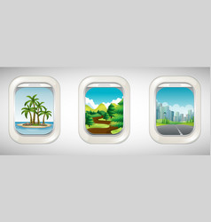 Three airplane windows with different views vector