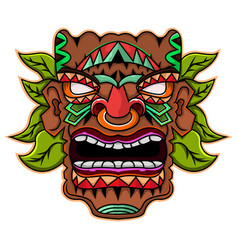 tiki mask with leaves mascot logo vector image