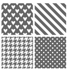 tile pattern set with grey and white polka dots vector image
