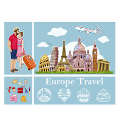 travel to europe composition vector image