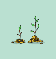 tree invest investment with gold coin money and vector image