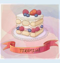 triple berry tiramisu dessert icon cartoon vector image