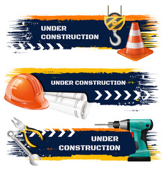 Under construction realistic banners vector