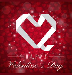 Valentine day white polygon heart image vector