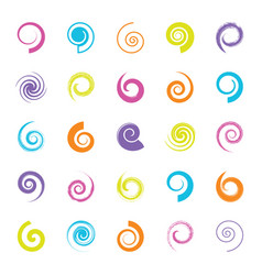 Various spiral design element set isolated vector