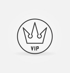 vip crown in circle outline icon vector image