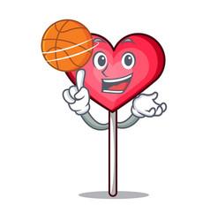 With basketball heart lollipop character cartoon vector