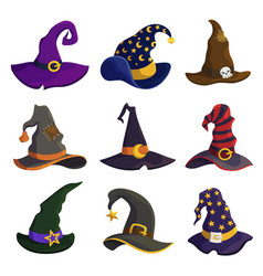 wizard hats flat color set vector image