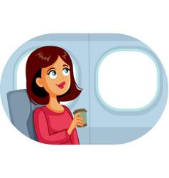 Woman travelling plane drinking coffee cartoon vector