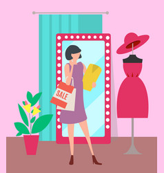 woman with shopping bags in clothes store vector image