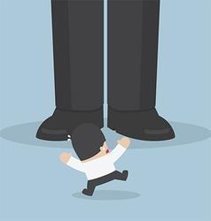 Businessman scared with giant feet vector