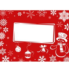 Christmas greeting card in red shades vector image vector image