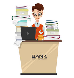 concept of bank employee with lot of work vector image