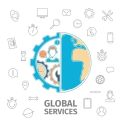 Global services concept vector image vector image