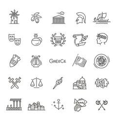 greece line icon set vector image