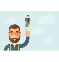 Man pointing the man with crutches icon vector image