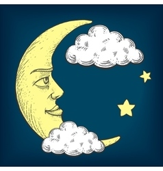 Moon with face engraving style vector image vector image