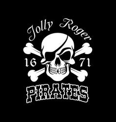 pirate skull and crossbones jolly roger symbol vector image