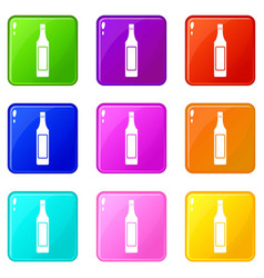 vinegar bottle icons 9 set vector image