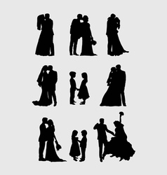 Wedding Pairs Silhouettes vector image