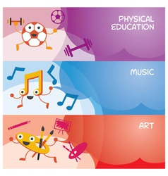 Education Characters Banner Physical Music Art vector image