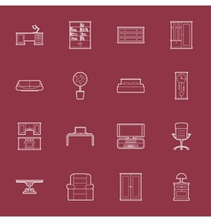 Furniture thin lines icon set vector image