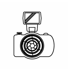 Photo Camera with flash icon outline style vector image vector image