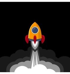 Space Rocket on Black Sky Background vector image