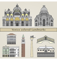 Venice colored Landmarks vector image