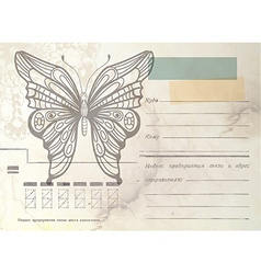 Vintage envelope with butterfly vector image vector image