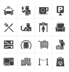 Black Airport travel and transportation icons vector image