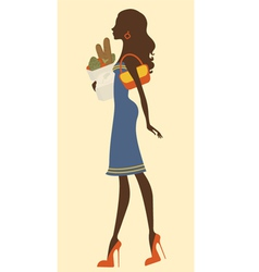 Elegant woman shopping vector image