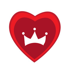 heart shape with a crown silhouette vector image