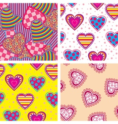 set heart pattern vector image vector image