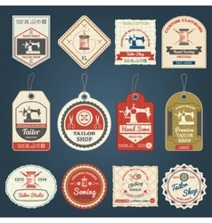 Tailor shop badges labels icons set vector image vector image
