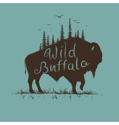 wild buffalo with forest on him vector image