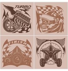 Auto racing emblems - Sport car logo vector image