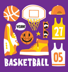 basketball hand drawn cartoon objects vector image