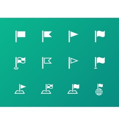 Flag icons on green background vector image
