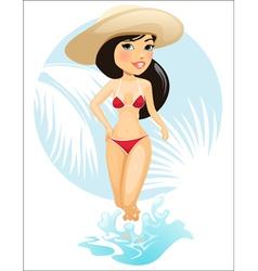Girl in summer hat vector image vector image