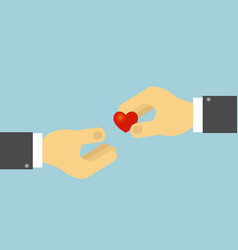 hand holds the human heart the concept of vector image