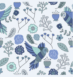 seamless pattern floral bird blue monochromatic vector image vector image