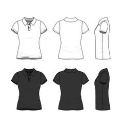 set of female polo t-shirt vector image