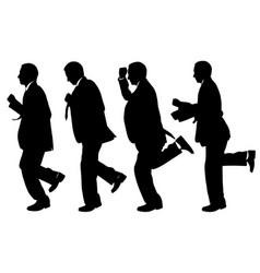 Set of men running vector