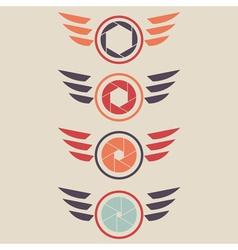 shutter logo set wings vector image