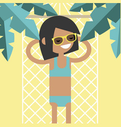 young female character lying in a hammock under vector image
